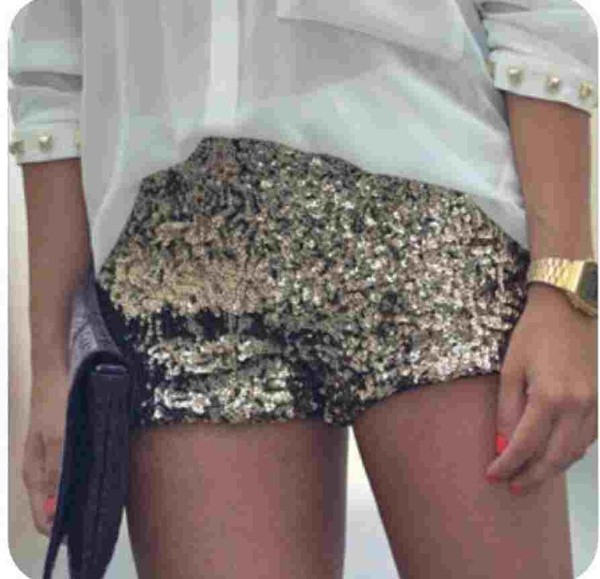 shorts gold sequence shorts