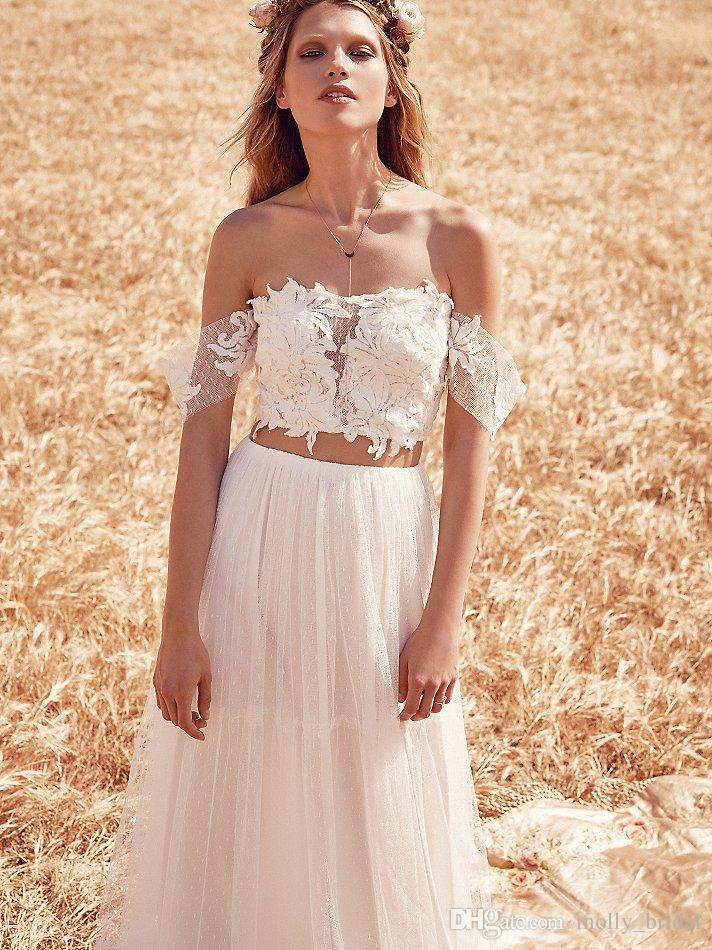Two piece 2016 boho wedding dresses romantic lace sexy off for Cheap boho wedding dresses