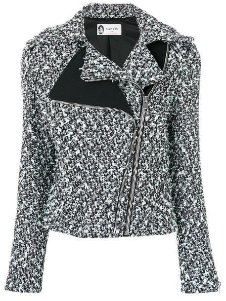 Lanvin - tweed double zipper jacket - women - Cotton/Polyamide/Polyester/Wool - 40, Black, Cotton/Polyamide/Polyester/Wool