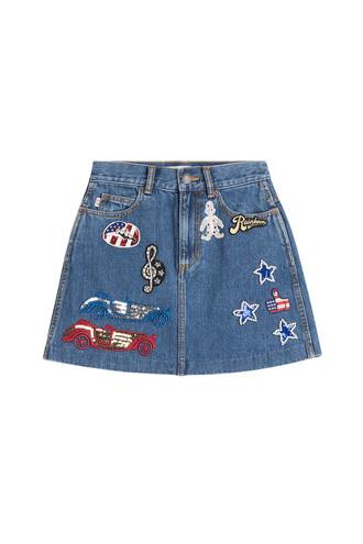 skirt denim skirt denim high embellished blue