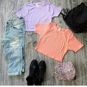 top,belle xo,crop,ribbed,crop tops,short sleeve,t-shirt,orange,purple,pastel,summer,spring,winter outfits,fall outfits,fashion,style,coat