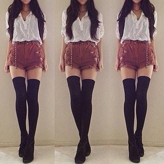 shorts burgandy ripped shorts high waisted shorts blouse belt underwear