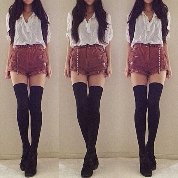 Shorts: burgundy, ripped shorts, high waisted shorts, blouse, belt ...