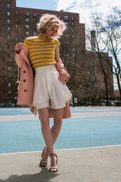 zanita,blogger,sweater,shorts,coat,bag,skirt,shirt,streetstyle,white shorts,chloe,bottega veneta