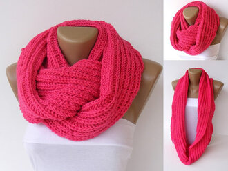 scarf knitwear infinity scarf neon neon pink etsy pink outfit knitted scarf hand knit scarf scarves women menswear fashion spring gift ideas girly girl hot pink yarn knit neckwarmer cowl scarf loop scarf winter outfits