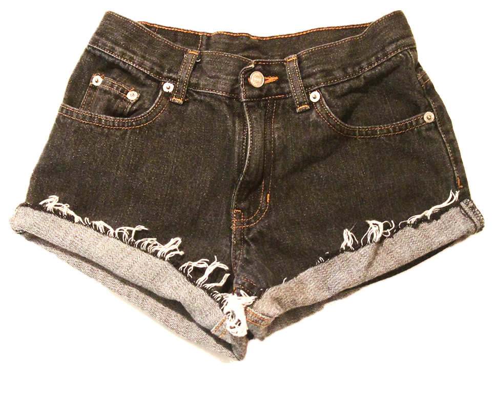 Dark grey denim high waist shorts