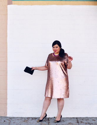 jay miranda blogger curvy sequin dress pink dress dress shoes bag plus size plus size dress sequins