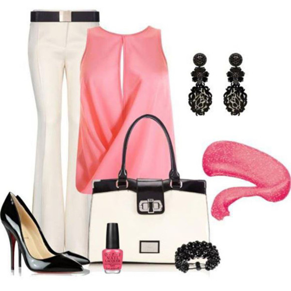 blouse pants white pants crop tops undefined drape top pink top black and white bag black earings pink, blue, print, flowers, crop top, crop, tops, belt bag jewels