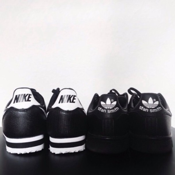 shoes trainers nike shoes adidas shoes vintage stan smith black black and white black shoes white white shoes grunge fashion coolture fashion style grunge shoes grunge wishlist girl sportswear sporty