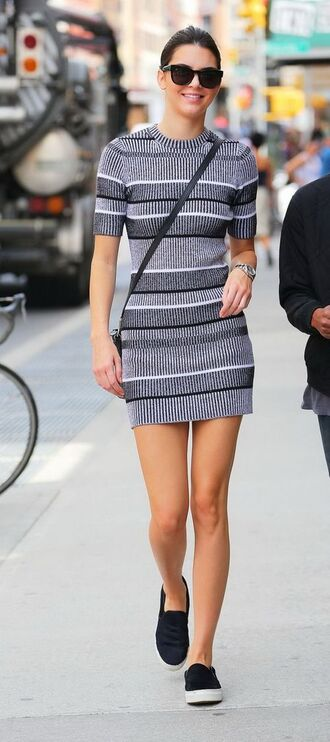 dress sweater dress gray black white comfy kendall jenner streetstyle shoes