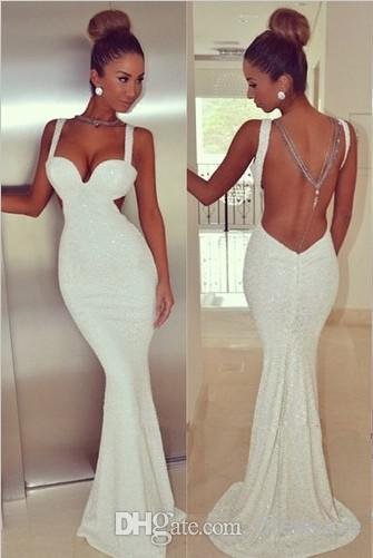 Cheap 2014 Evening Dresses - Discount 2014 New Arrival Tank Straps Sweetheart White Mermaid Long Evening Dresses Sequined Sexy Backless Prom Party Gown Bo4919 Online with $91.22/Piece | DHgate