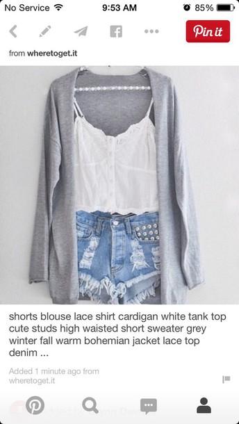 shirt shorts cardigan
