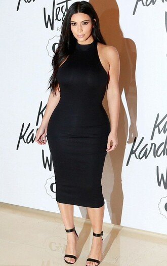dress midi dress bodycon black dress kim kardashian shoes mid heel sandals