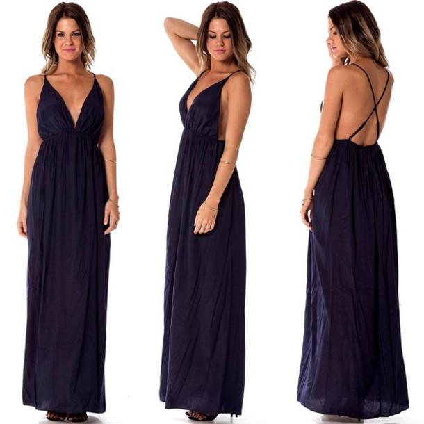 f2a069e712f Deep V-Neck Maxi Dress – Fashion dresses