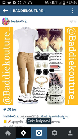 outfit outfit idea blaaaze baddiekouture_ jewels t-shirt outfit ideas cargo bag