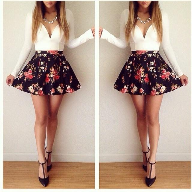 Cut floral mini dress
