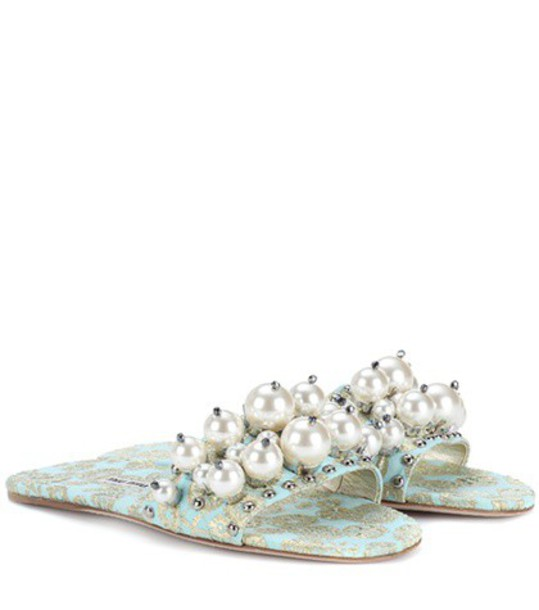 Miu Miu jacquard embellished blue shoes