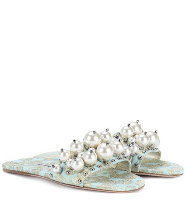 Miu Miu Embellished jacquard slides in blue