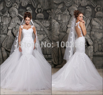 Aliexpress.com : buy 2014 new design custom made mermaid floor length court train sleeveless sexy sweetheart backless elegant white wedding dresses from reliable wedding dress with roses suppliers on rose wedding dress co., ltd