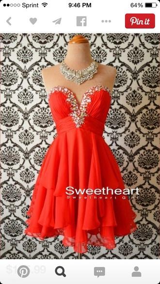 prom dress red dress homecoming dress sweetheart neckline