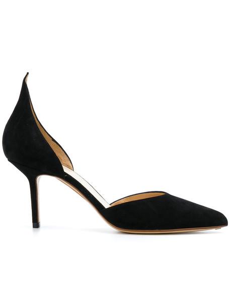 Francesco Russo d'orsay pumps women pumps leather black shoes