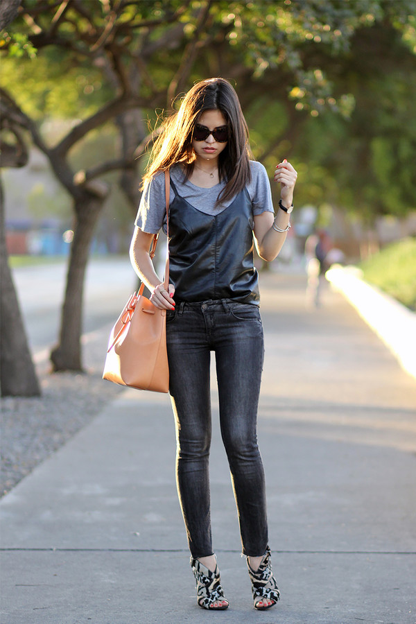 fake leather t-shirt jeans bag shoes jewels sunglasses bucket bag
