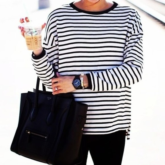 shirt bag striped shirt black white