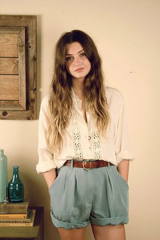 shorts high waisted shorts hipster cozy blouse