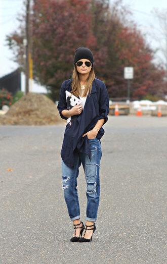 bag jacket blogger ripped jeans to be bright studded shoes