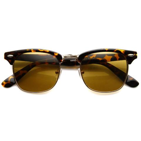 Indie Half Frame Horned Rim Clubmaster Wayfarer Sunglasses 2934                           | zeroUV