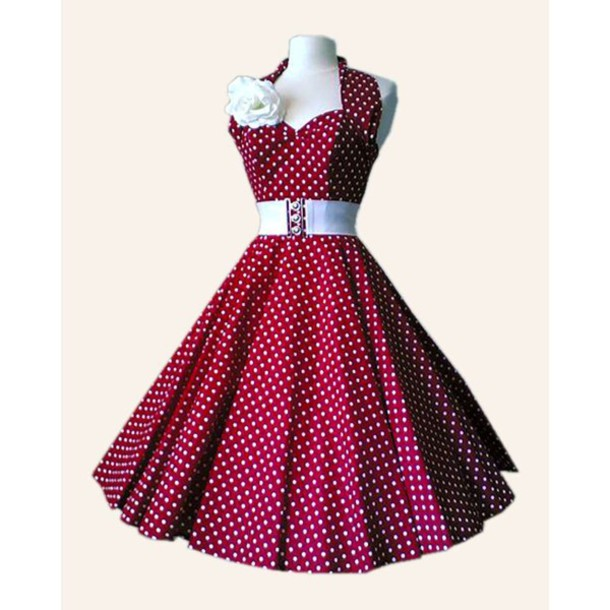 dress red dress 50s style