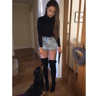 shoes black boots boots thigh highs knee high shorts