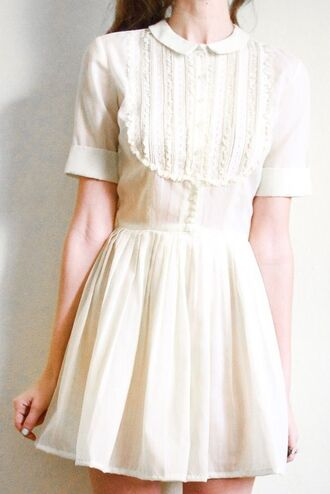 dress white dress collar peter pan collar white girly romantic summer dress frilly ruffle three-quarter sleeves lace