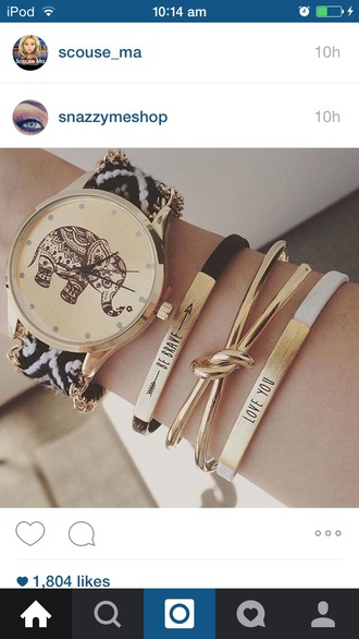 jewels watch elephant pattern bracelets coloured hand cute pretty lush fashion style stylish clock be brave love you chain time stacked bracelets jewelry