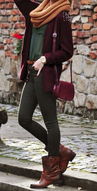 cardigan studded burgundy shoes back to school red lime sunday fall outfits scarf shirt infinity scarf bag yellow eleanor calder