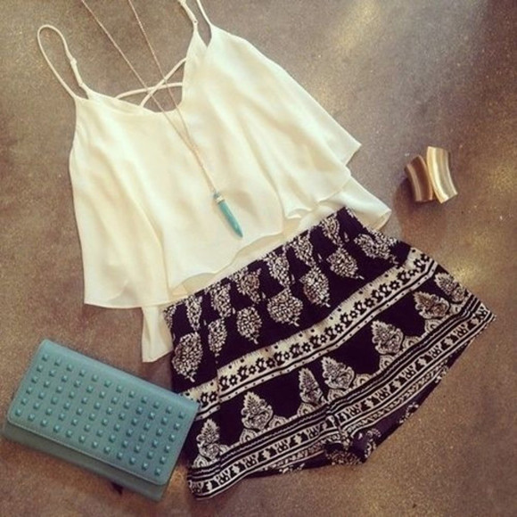 shorts white top tank top black and white shorts with prints summer shorts