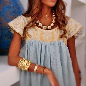 blouse gold dress blue beautiful gorgeous classy hippie boho gypsy bohemian diva kleopatra egyptian queen accessories
