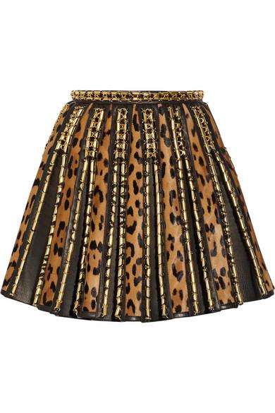 Print calf hair and leather mini skirt