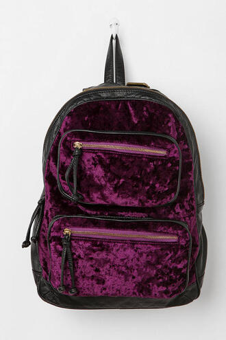 bag backpack velvet purple burgundy black&bordeaux velvet backpack velver bag grunge indie hipster tumblr black bag zips gold details alternative dark violet pastel goth pastel grunge