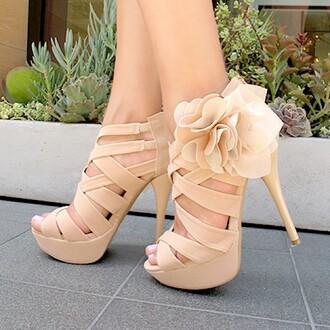 shoes nude straps flowers platform shoes high heels beige heels beige high heels