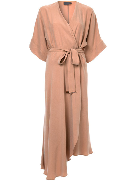 dress wrap dress women brown