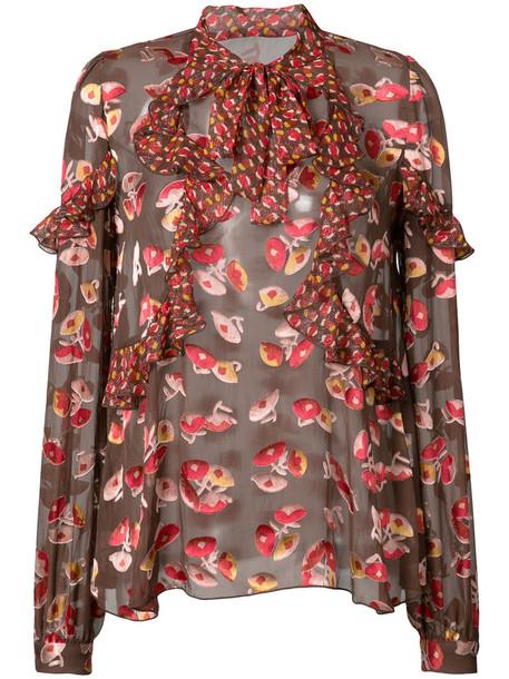 Anna Sui blouse women print silk red top