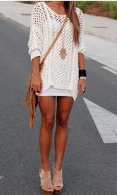 sweater,dress,jumper,white,cream,knitted sweater,knitwear