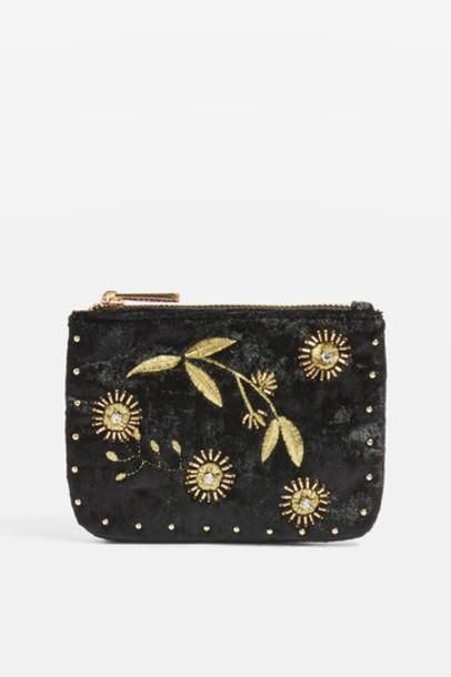 Topshop beaded purse black velvet bag