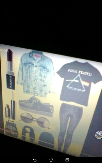 shirt denim jacket pink floyd platform shoes leather backpack