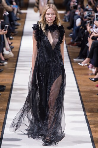 dress gown see through see through dress black dress runway paris fashion week 2017 fashion week 2017 lanvin