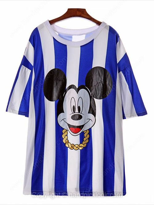 Blue Short Sleeve Striped Mickey Print T-Shirt - HandpickLook.com