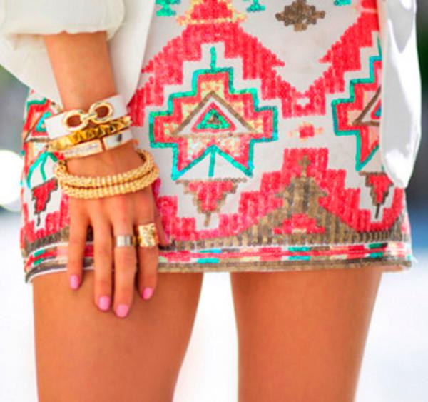 skirt sequin skirt aztec skirts tribal skirts coral skirt ici fashion icifashion aztec sequin skirt