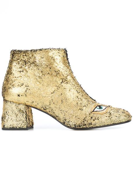 Figue women booties leather grey metallic shoes