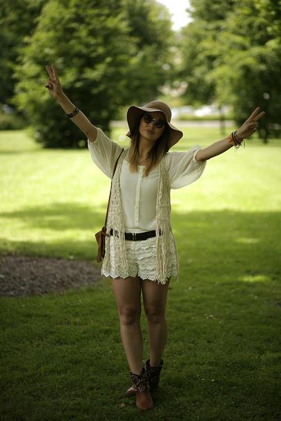 fashion zen shorts blouse bag shoes jacket sunglasses hat belt jewels